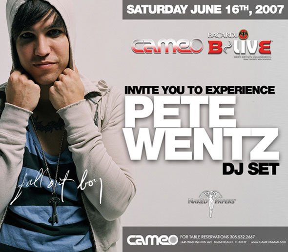 Naked Papers presents Pete Wenz with special guest host Travis Barker. Join Naked Papers at Cameo Nightclub for an exclusive DJ Set by Fall Out Boy's lead singer Pete Wenz. Get Naked and Smoke! - Invitation - June 16, 2007